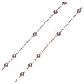 Colar terço AMEN clássico prata 925 acab. rosê s3