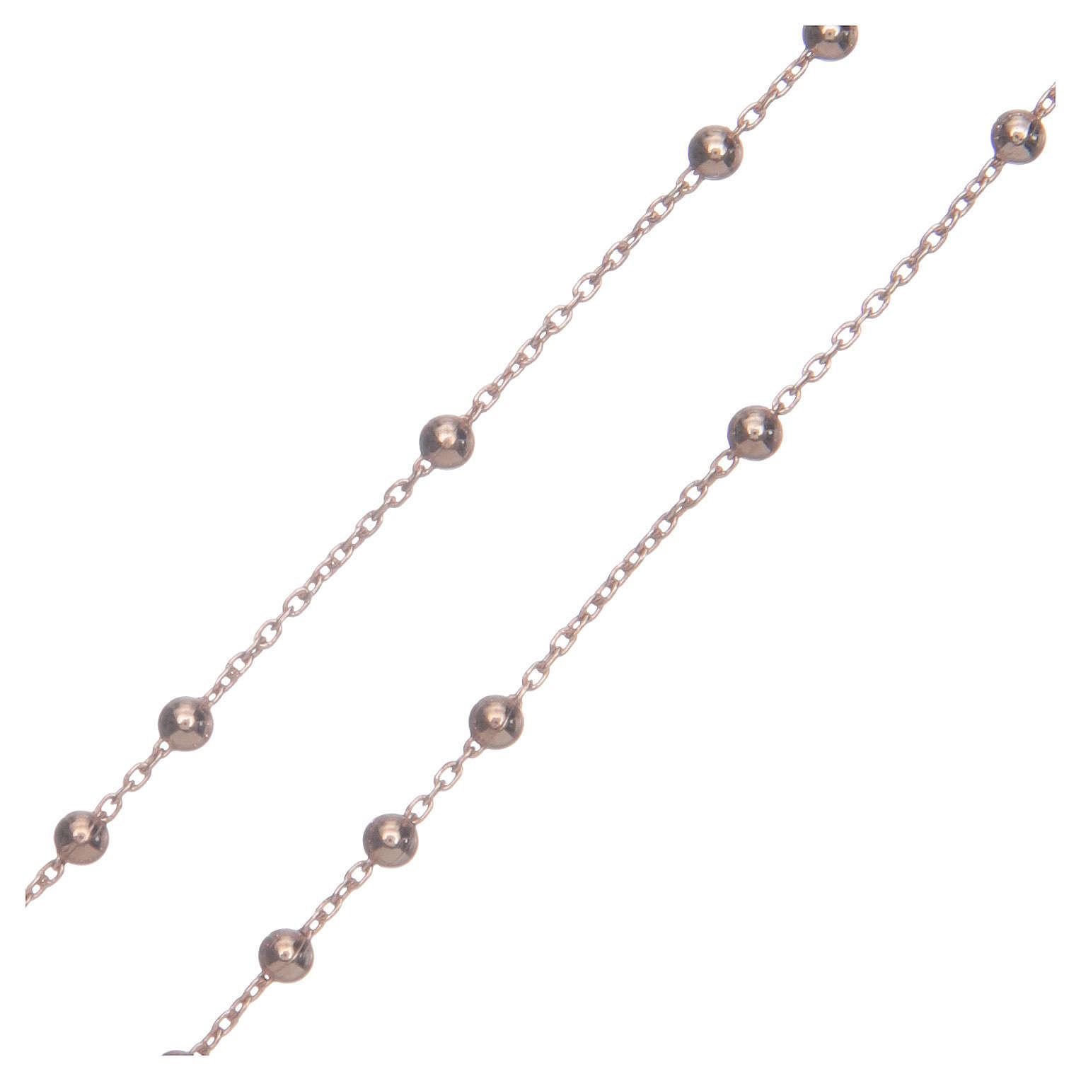 Rosary Necklace AMEN classic silver 925, Rosè finish 4