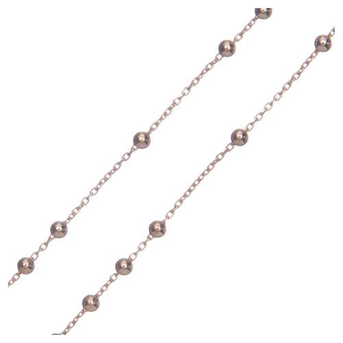Rosary Necklace AMEN classic silver 925, Rosè finish 3