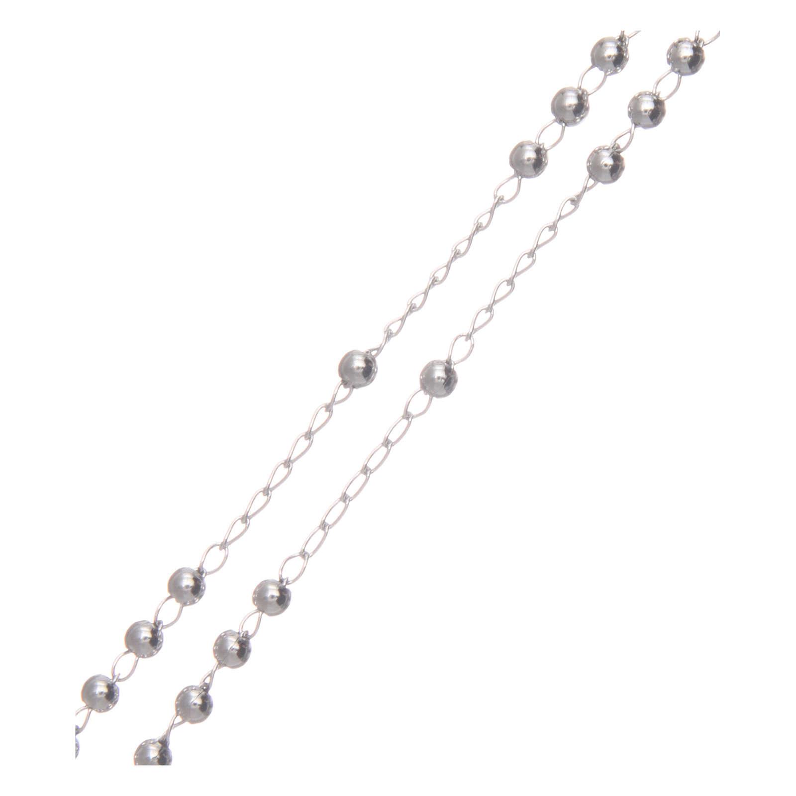 Collar Rosario AMEN clásico 3 mm plata 925 acabado en Rodio 4