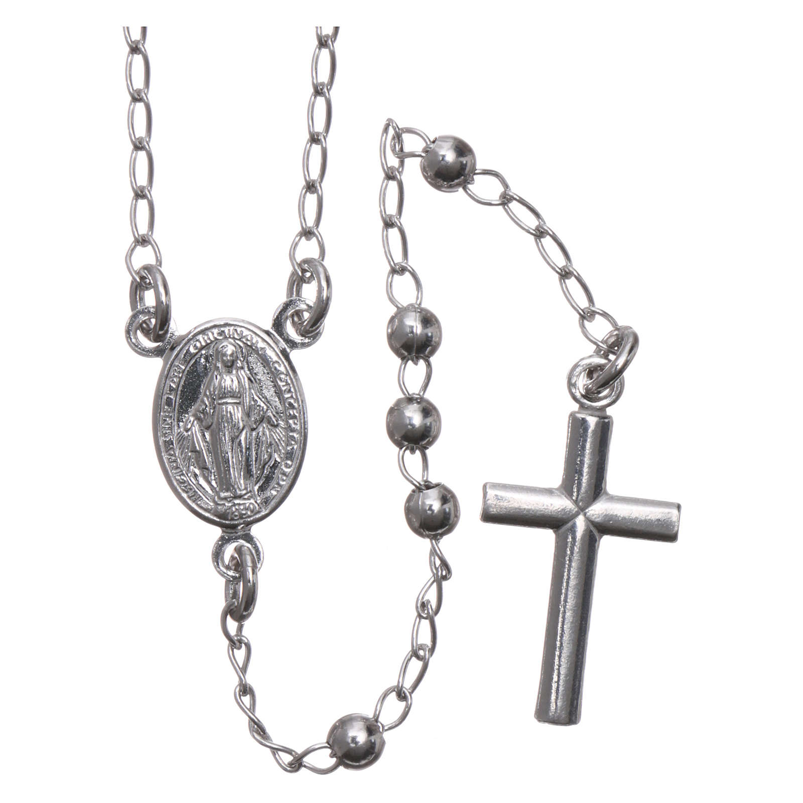 Rosary Necklace AMEN classic 3mm silver 925, Rhodium finish 4