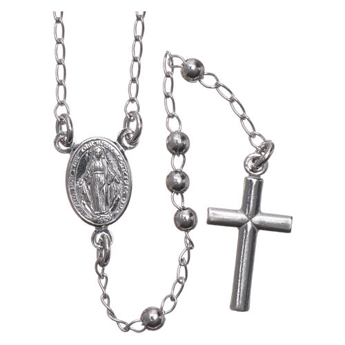 Rosary Necklace AMEN classic 3mm silver 925, Rhodium finish 1