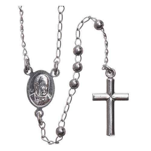 Rosary Necklace AMEN classic 3mm silver 925, Rhodium finish 2