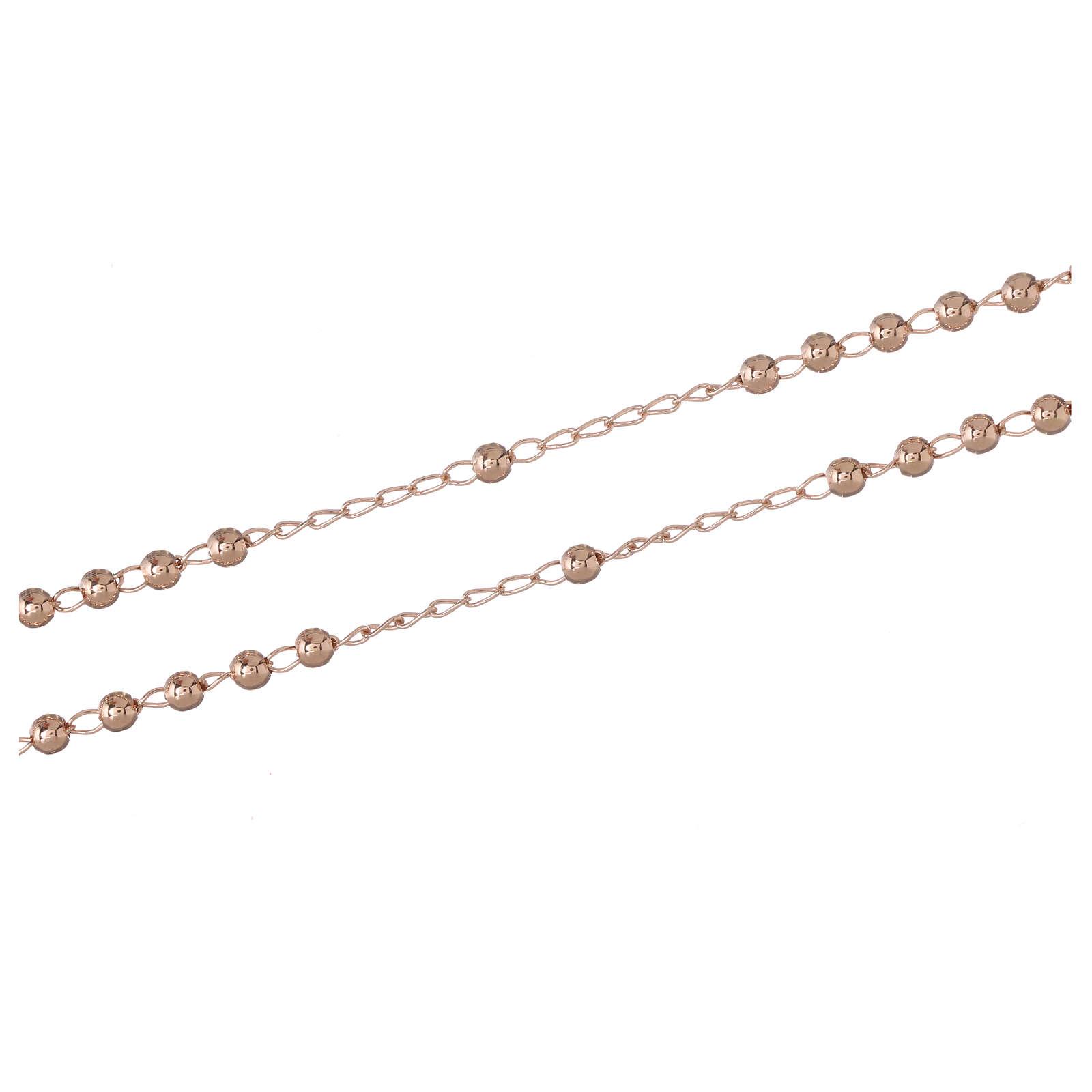 Collana rosario AMEN classico 3 mm arg 925 fin. Rosè 4