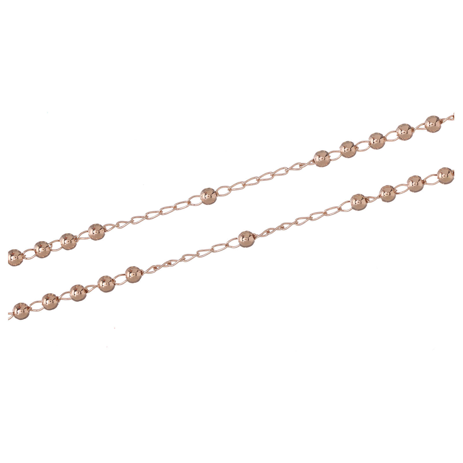 Rosary Necklace AMEN classic 3mm silver 925, Rosè finish 4