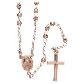 Rosary Necklace AMEN classic 3mm silver 925, Rosè finish s1