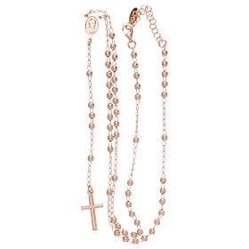 Rosary Necklace AMEN classic 3mm silver 925, Rosè finish s4