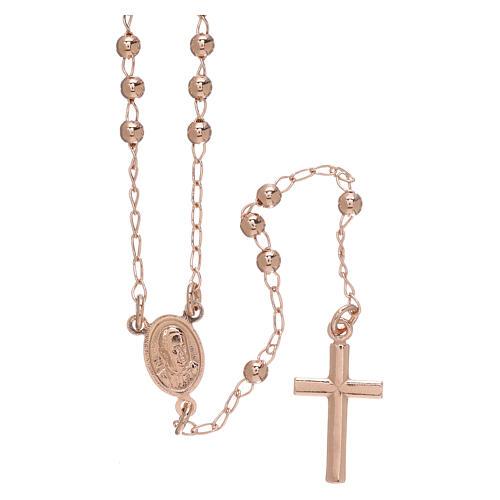Rosary Necklace AMEN classic 3mm silver 925, Rosè finish 2