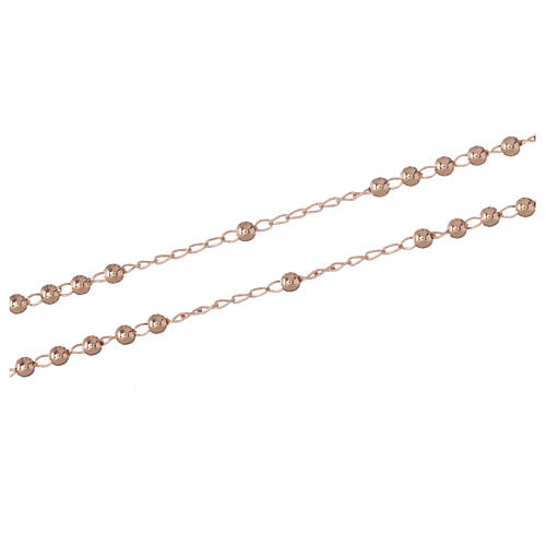 Rosary Necklace AMEN classic 3mm silver 925, Rosè finish 3