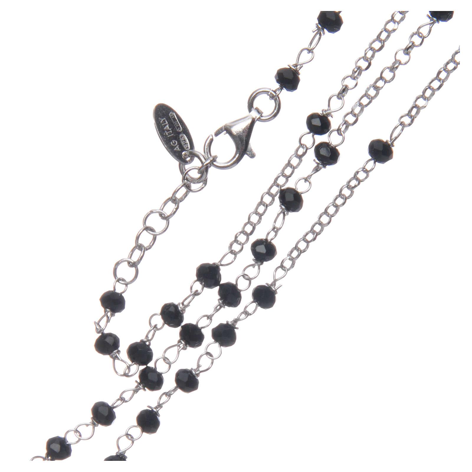 Collar Rosario AMEN clásico cristales negros plata 925 acabado Rodio 4