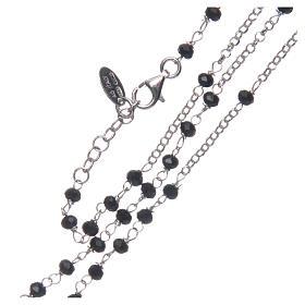 Collar Rosario AMEN clásico cristales negros plata 925 acabado Rodio s3