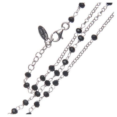 Collar Rosario AMEN clásico cristales negros plata 925 acabado Rodio 3