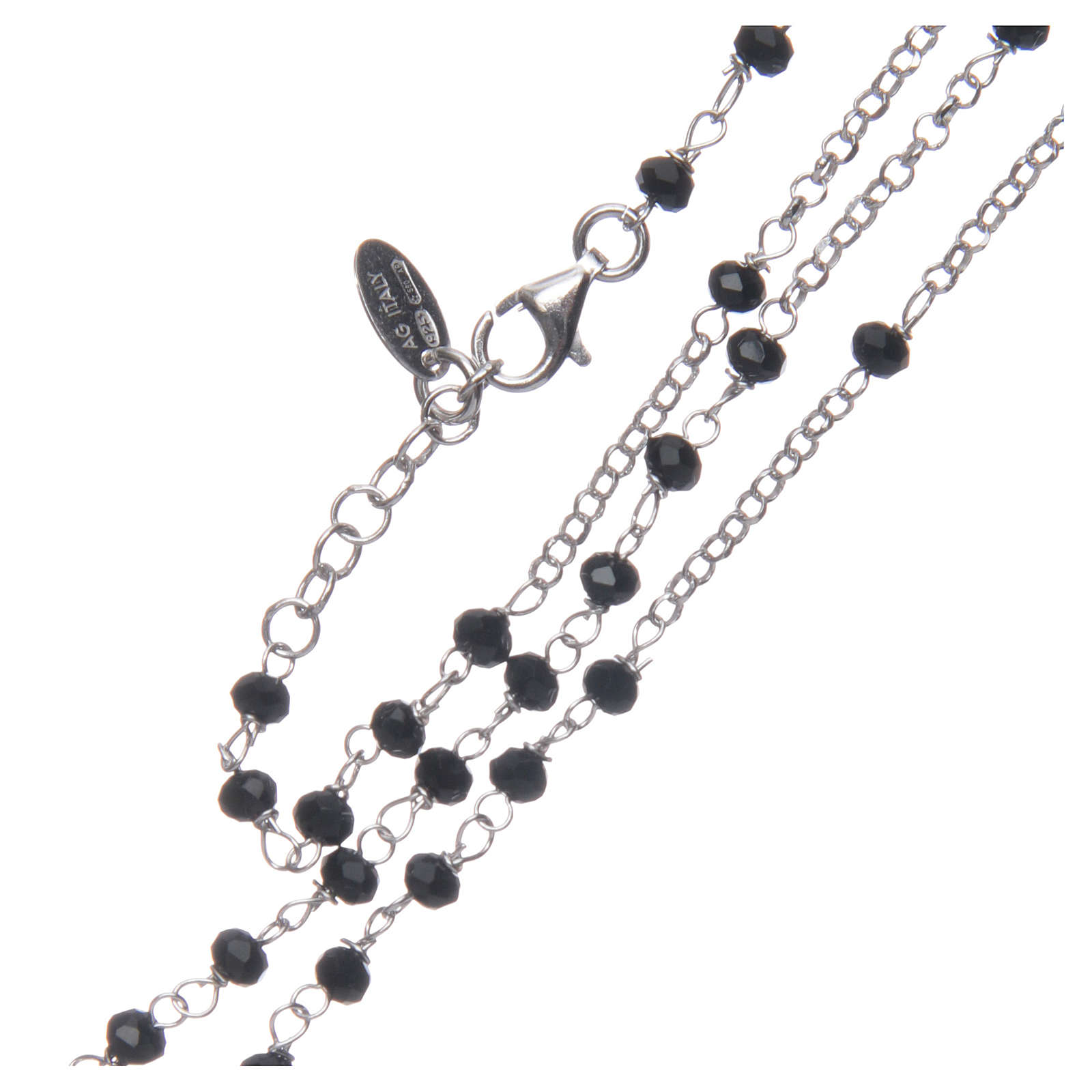 Rosary Necklace AMEN classic black crystals, silver 925 Rhodium 4