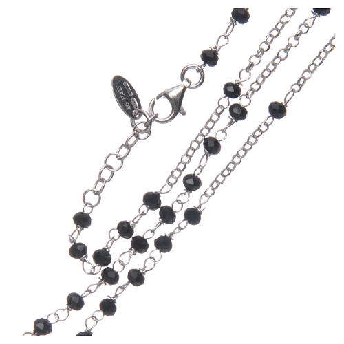 Rosary Necklace AMEN classic black crystals, silver 925 Rhodium 3