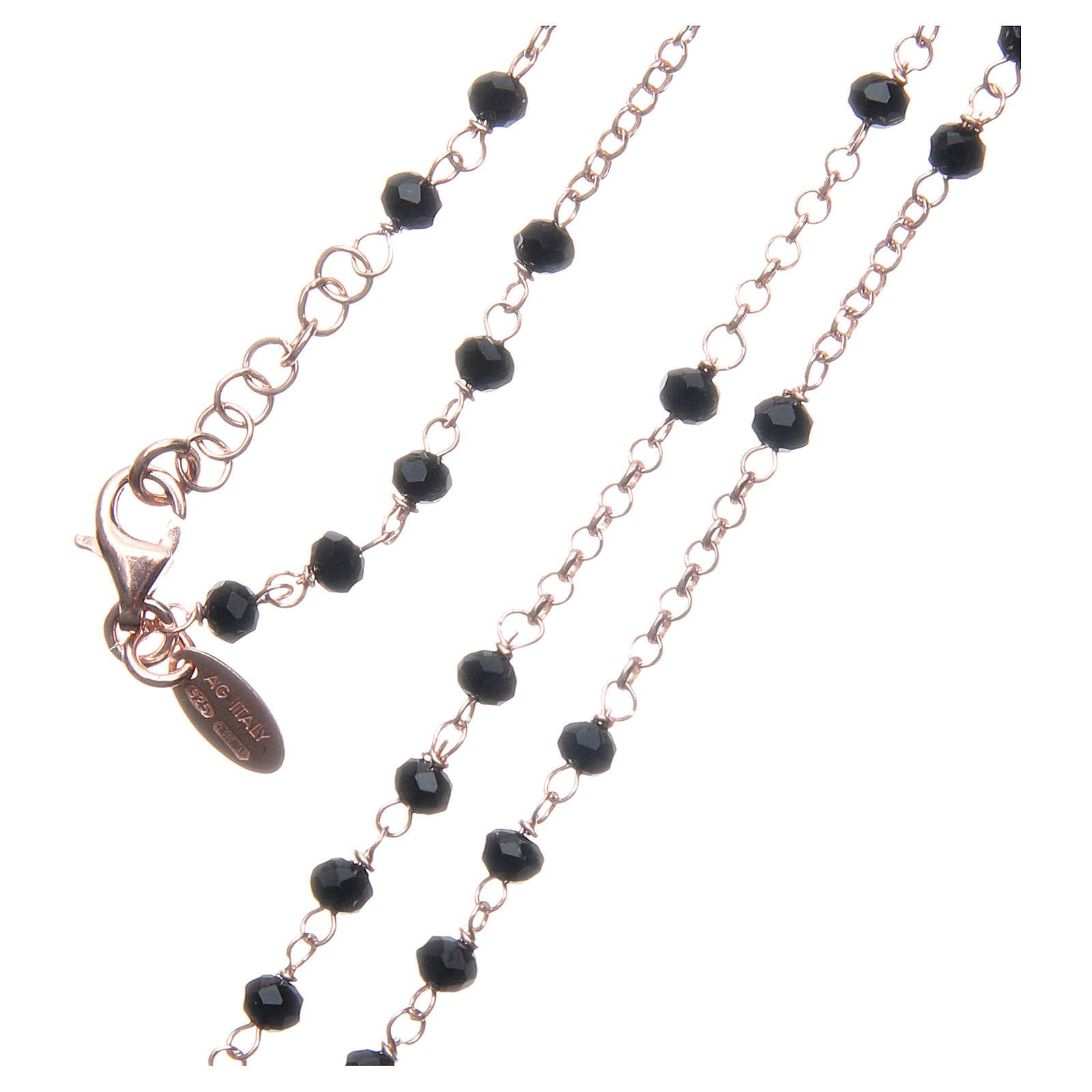 Collar Rosario AMEN clásico cristales negros plata 925 acabado Rosado 4
