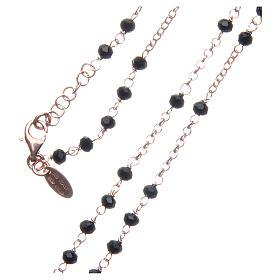 Collar Rosario AMEN clásico cristales negros plata 925 acabado Rosado s3