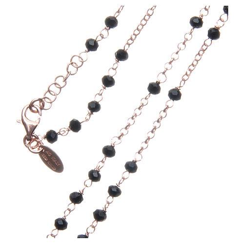 Collar Rosario AMEN clásico cristales negros plata 925 acabado Rosado 3