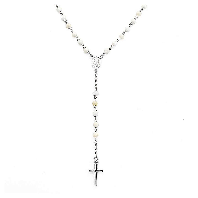 Collar Rosario AMEN clásico perlas plata 925 acabado Rodio 4