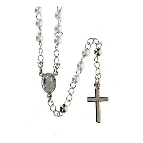 Collar Rosario AMEN clásico perlas plata 925 acabado Rodio 1