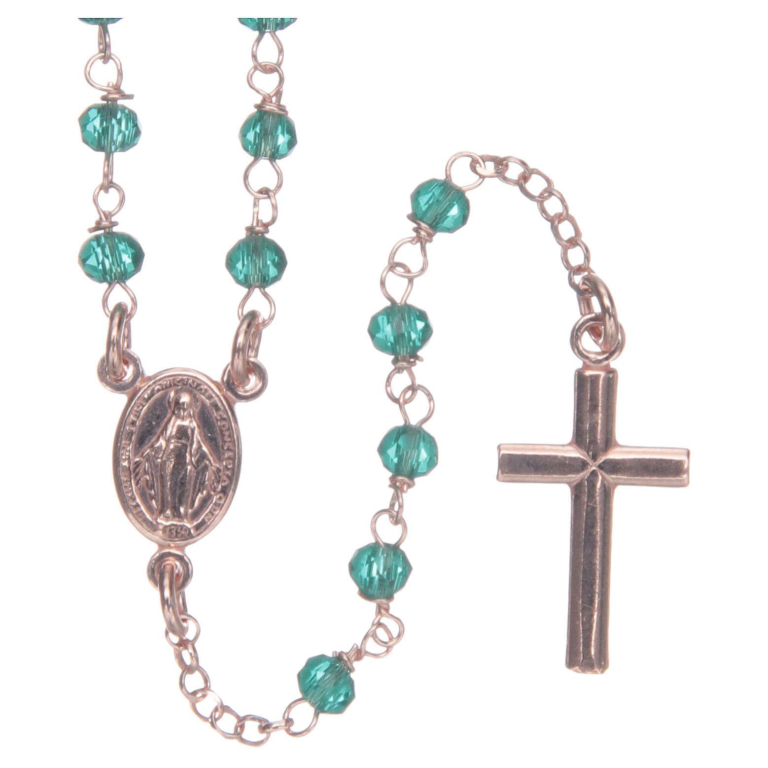 Collana rosario AMEN classico crist verdi arg 925 Rosè 4