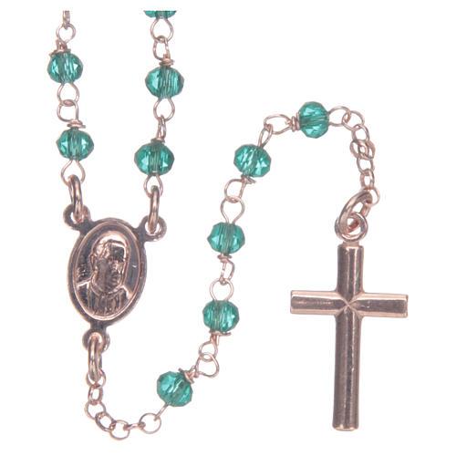 Collana rosario AMEN classico crist verdi arg 925 Rosè 2