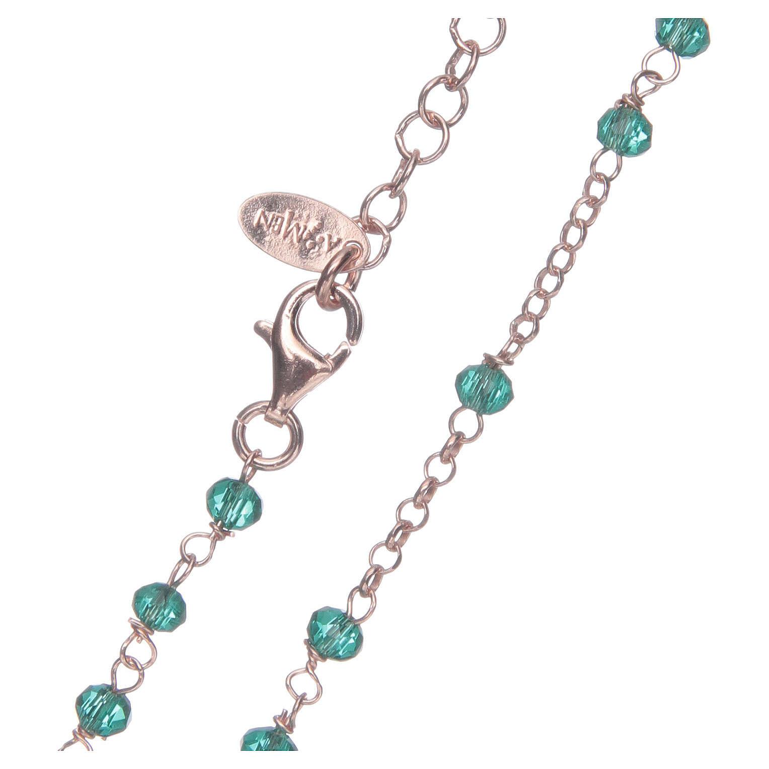 Colar terço AMEN clássico cristais verdes prata 925 acab. rosê 4