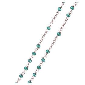 Colar terço AMEN clássico cristais verdes prata 925 acab. rosê s3
