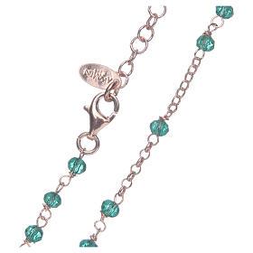 Colar terço AMEN clássico cristais verdes prata 925 acab. rosê s4