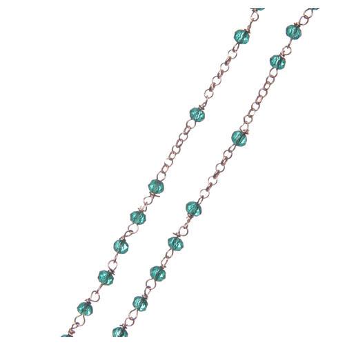 Colar terço AMEN clássico cristais verdes prata 925 acab. rosê 3