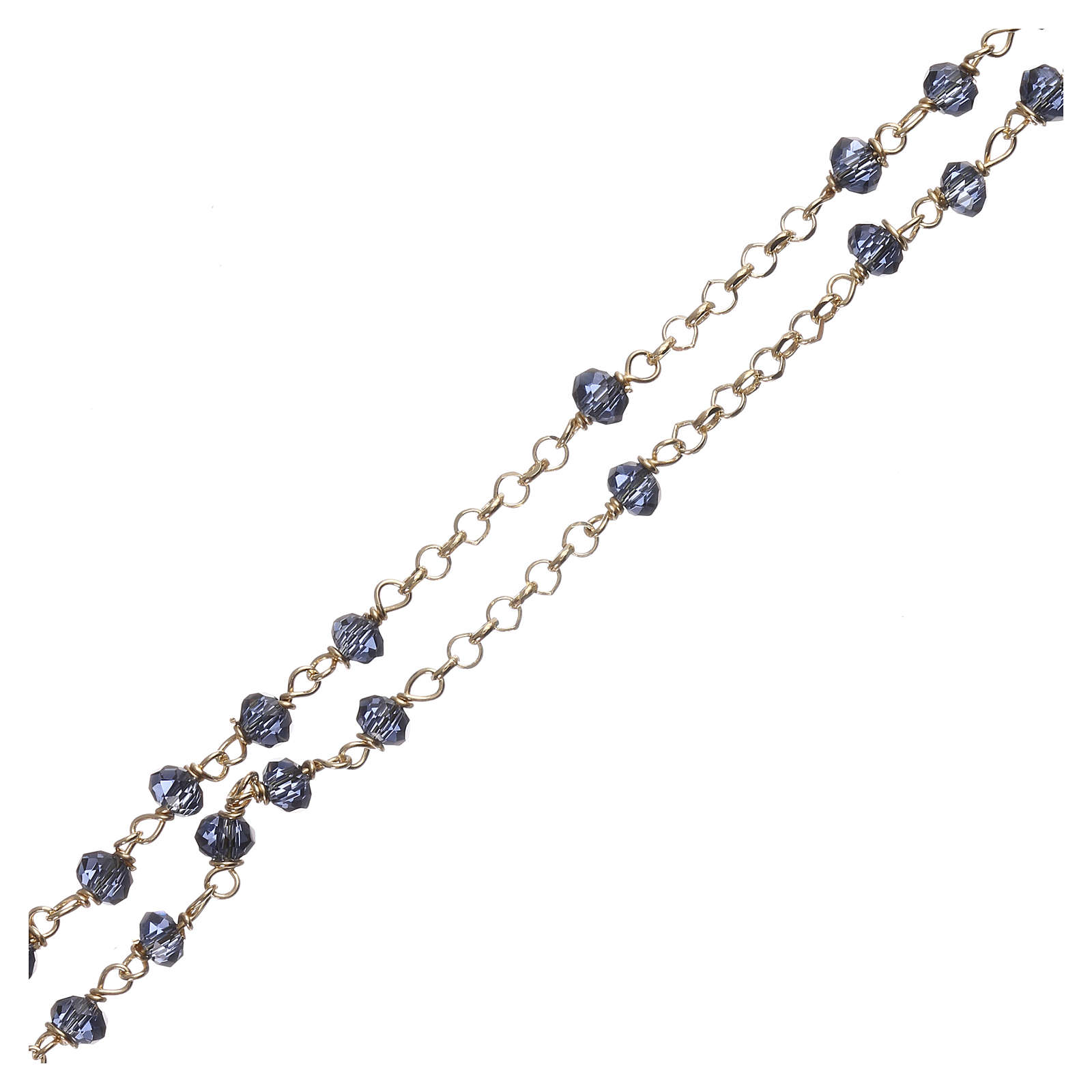 Collar Rosario AMEN clásico cristales azul plata 925 Amarillo 4