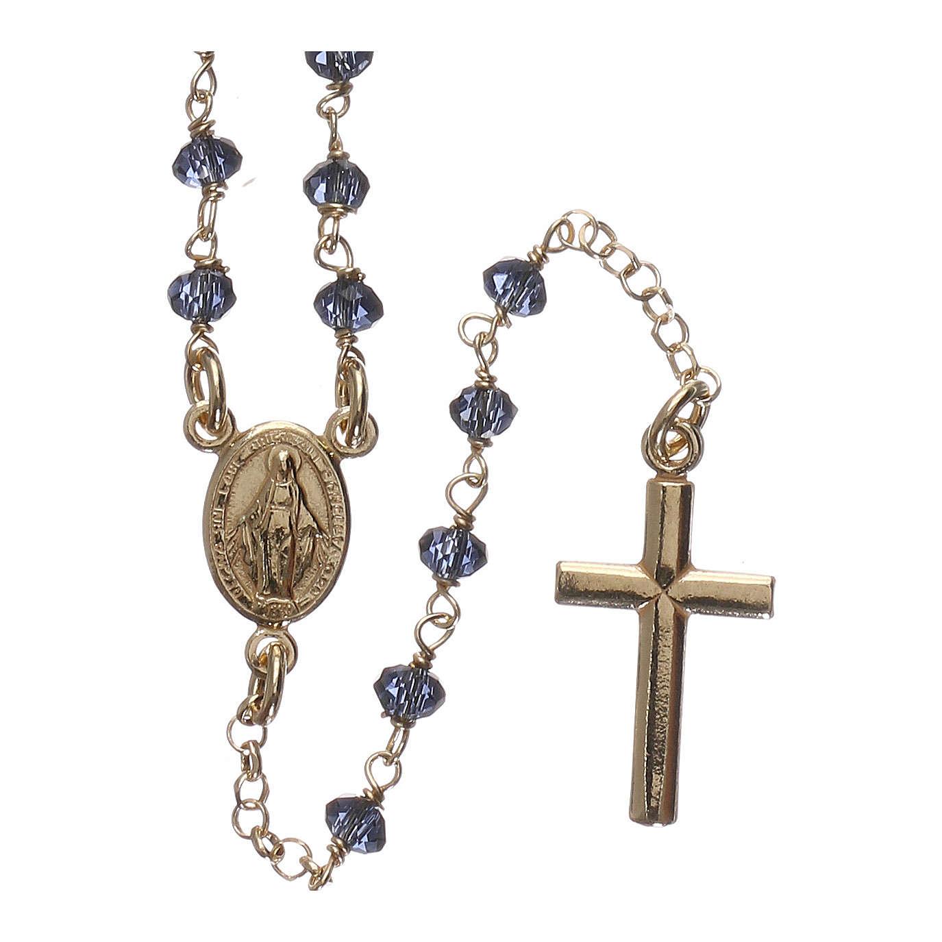 Naszyjnik różaniec AMEN klasyczny kryształy niebieski srebro 925 żółty 4