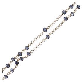Naszyjnik różaniec AMEN klasyczny kryształy niebieski srebro 925 żółty s3