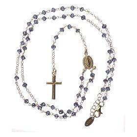 Naszyjnik różaniec AMEN klasyczny kryształy niebieski srebro 925 żółty s4
