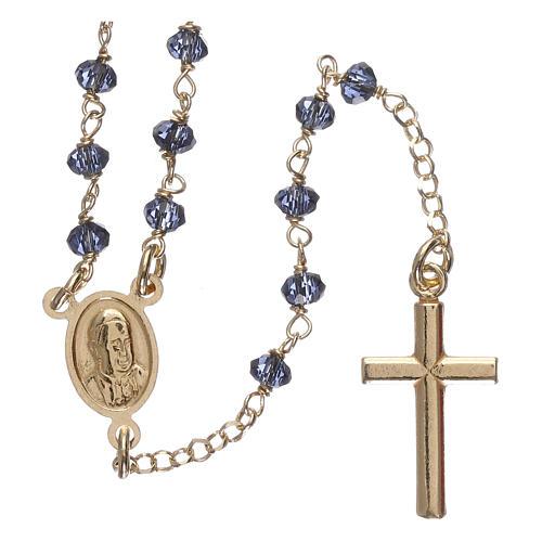 Naszyjnik różaniec AMEN klasyczny kryształy niebieski srebro 925 żółty 2