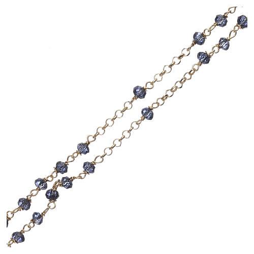 Naszyjnik różaniec AMEN klasyczny kryształy niebieski srebro 925 żółty 3