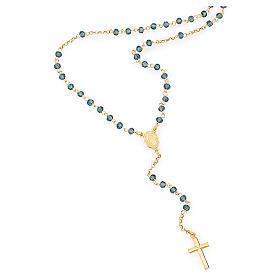 Rosary Necklace AMEN classic blue crystals, silver 925 Yellow s1