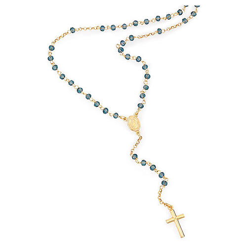 Rosary Necklace AMEN classic blue crystals, silver 925 Yellow 1