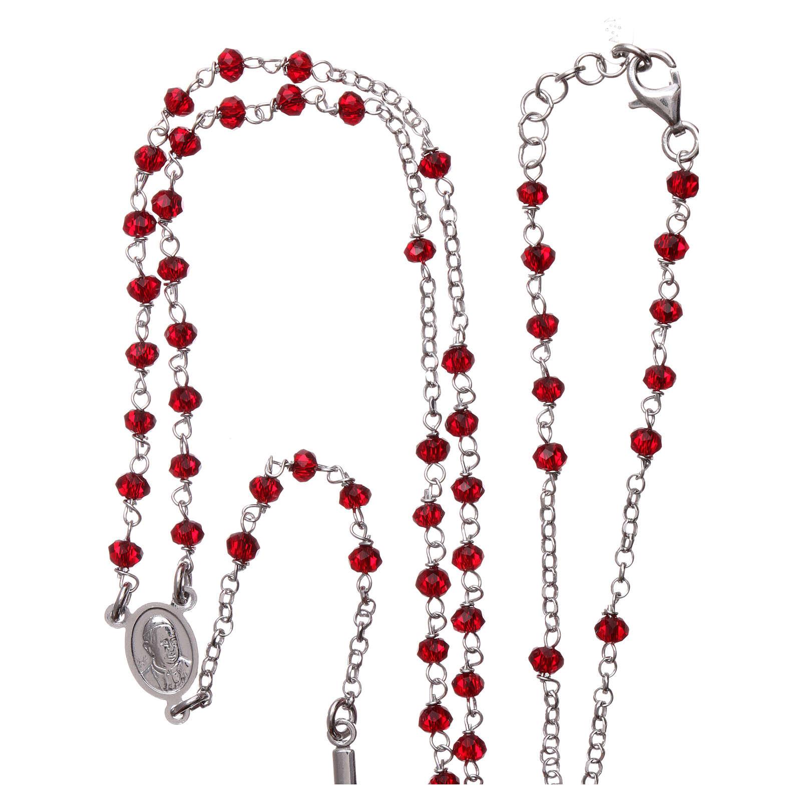 Collar Rosario AMEN clásico coral plata 925 Rodio 4
