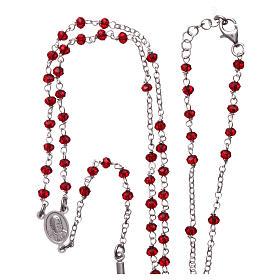 Collar Rosario AMEN clásico coral plata 925 Rodio s4