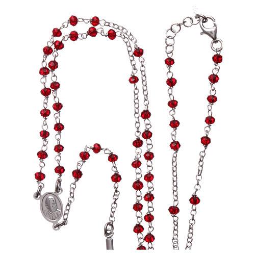 Rosary Necklace AMEN classic coral crystals, silver 925 Rhodium 4