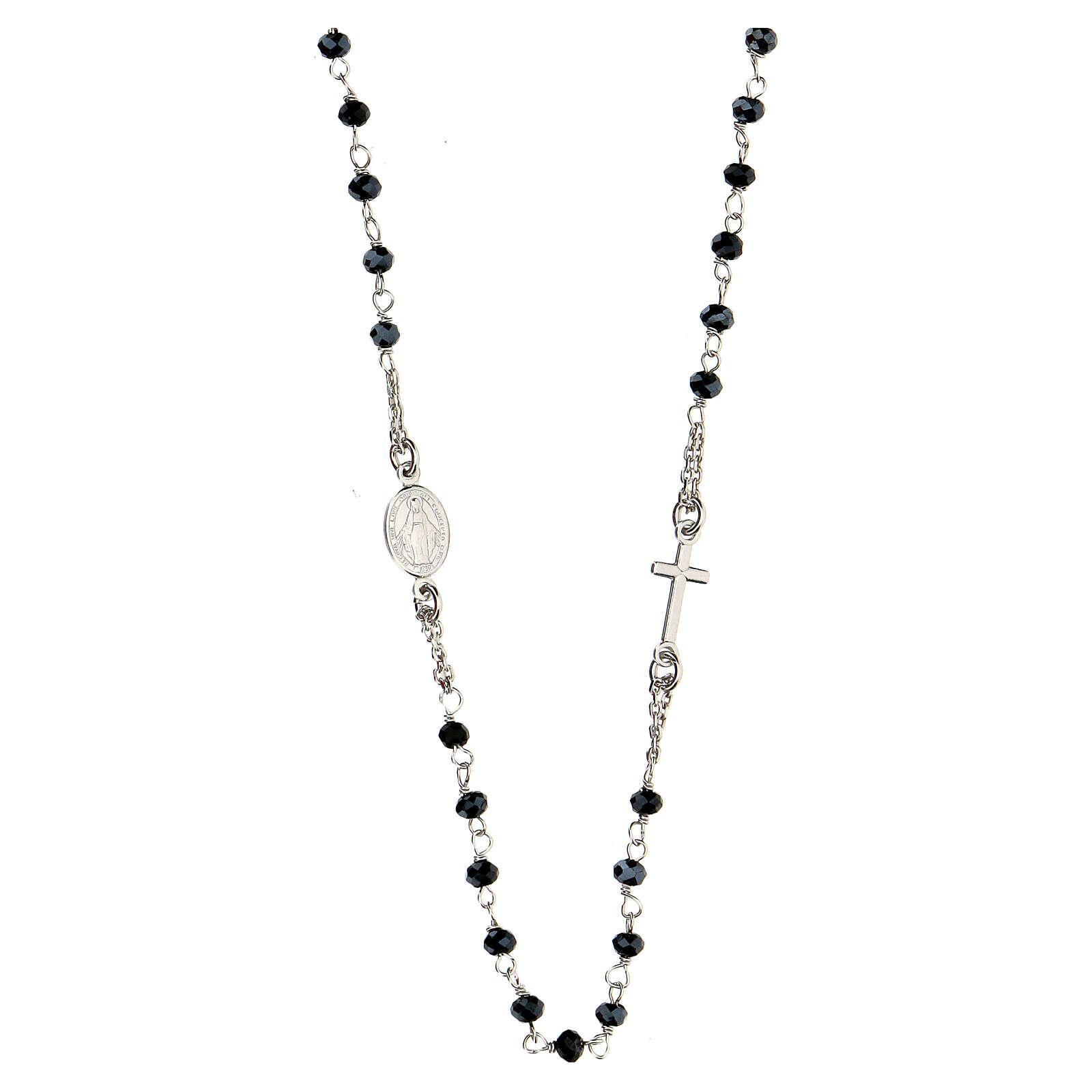 Collar Rosario AMEN clásico Pavè cristales negros plata 925 Rodio 4