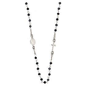 Collar Rosario AMEN clásico Pavè cristales negros plata 925 Rodio s2