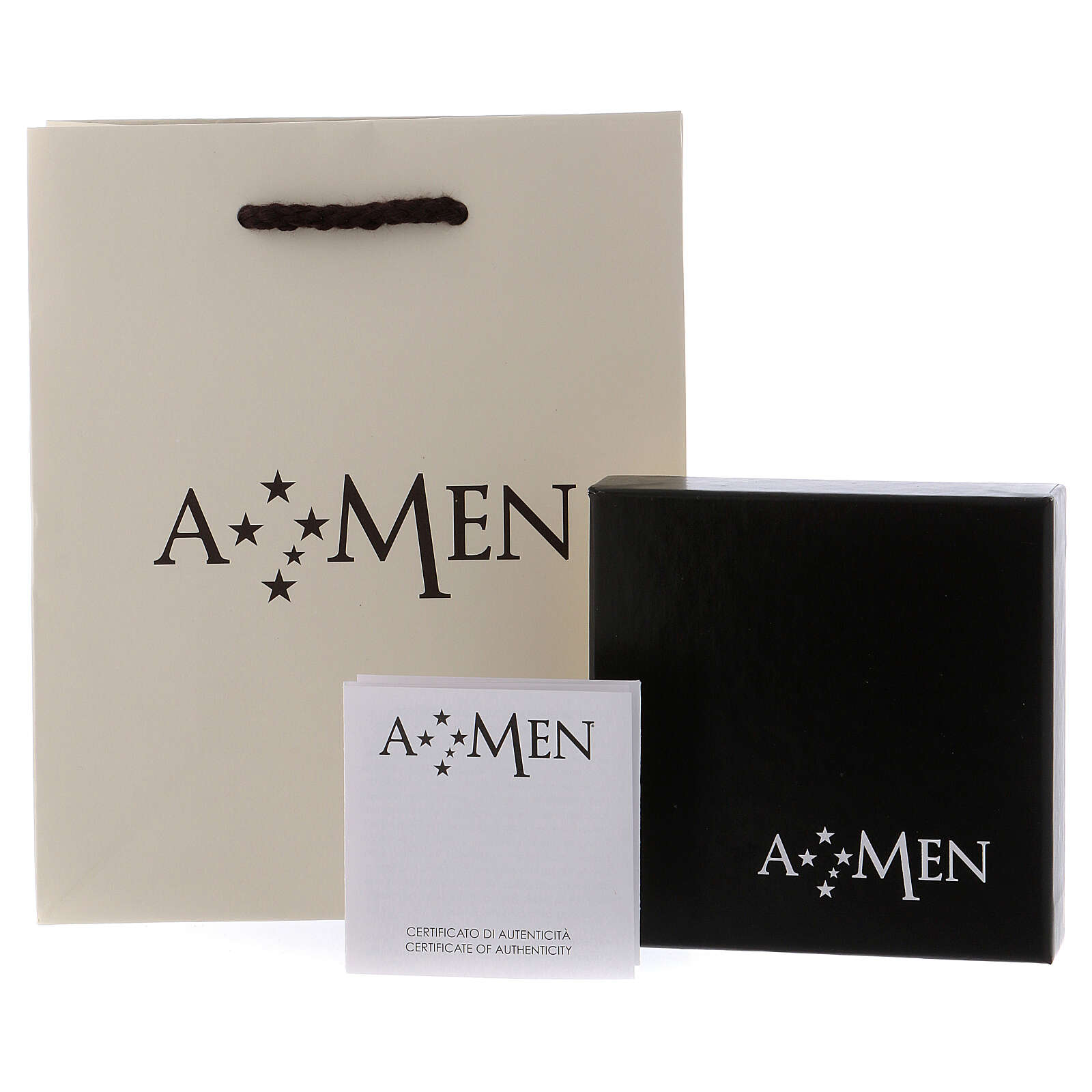 Naszyjnik różaniec AMEN klasyczny pave' kryształy czarne srebro 925 rod 4