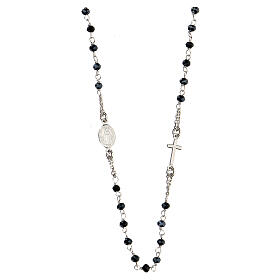 Naszyjnik różaniec AMEN klasyczny pave' kryształy czarne srebro 925 rod s2