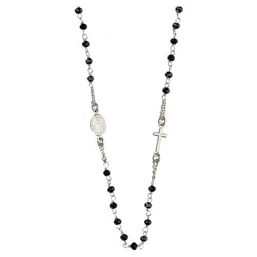 Naszyjnik różaniec AMEN klasyczny pave' kryształy czarne srebro 925 rod 2