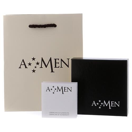 Naszyjnik różaniec AMEN klasyczny pave' kryształy czarne srebro 925 rod 5