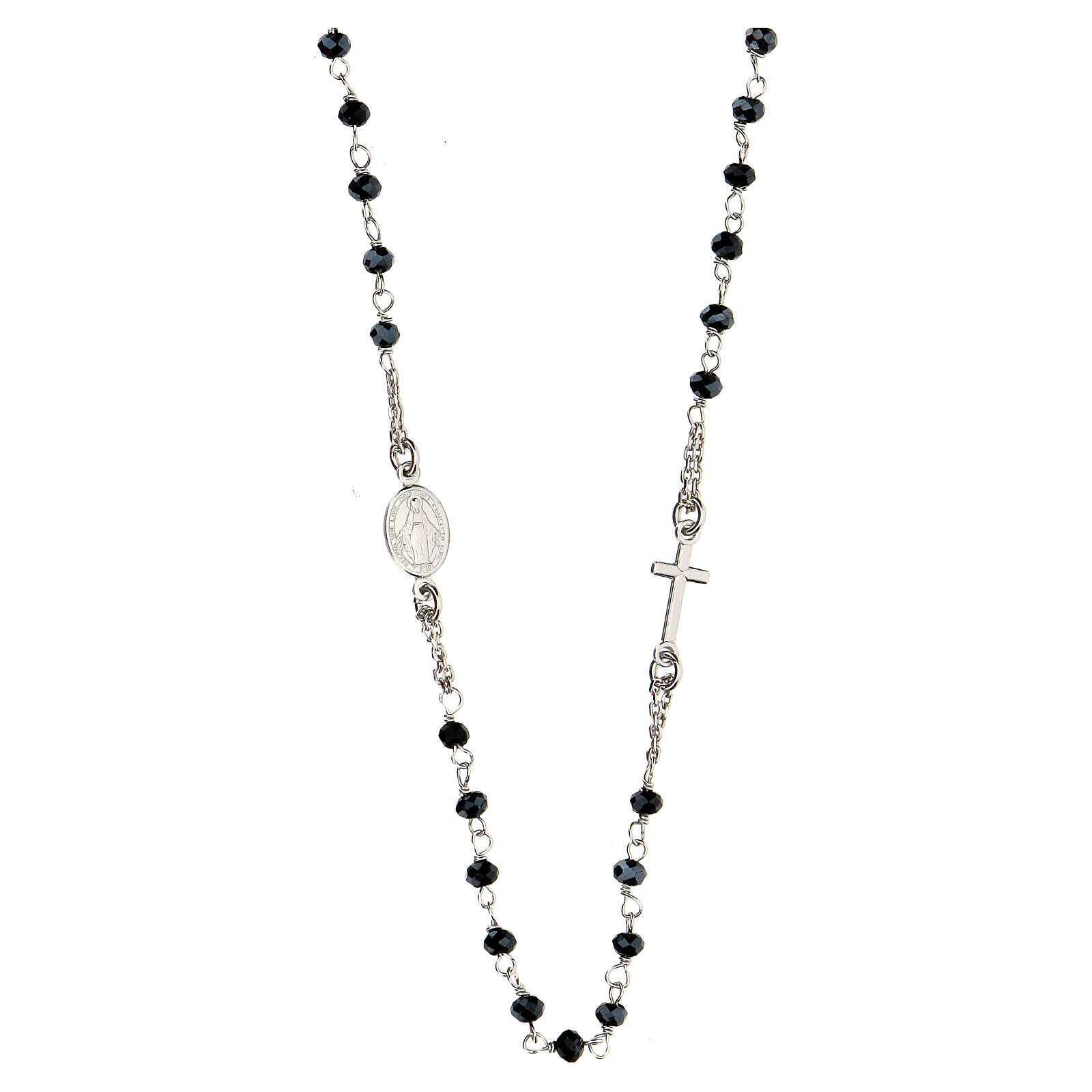 Rosary Necklace AMEN classic Pavè black crystals, silver 925 Rhodium 4