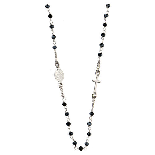 Rosary Necklace AMEN classic Pavè black crystals, silver 925 Rhodium 2