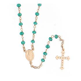 Collar Rosario AMEN clásico Pavè cristales verdes plata 925 Rosado s2