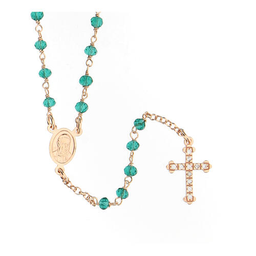 Collar Rosario AMEN clásico Pavè cristales verdes plata 925 Rosado 1